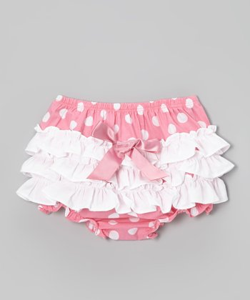 Pink & White Polka Dot Ruffle Diaper Cover - Infant & Toddler