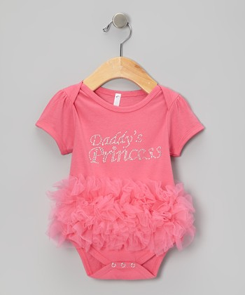 Lipstick Pink 'Daddy's Princess' Ruffle Bodysuit - Infant