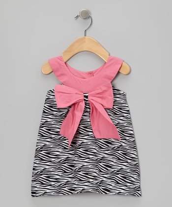 Black & Lipstick Pink Zebra Bow Yoke Dress - Infant & Toddler