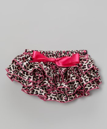 Black & Pink Leopard Ruffle Satin Diaper Cover - Infant