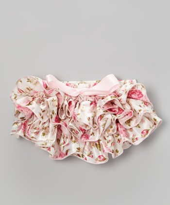 Light Pink Floral Ruffle Satin Diaper Cover - Infant