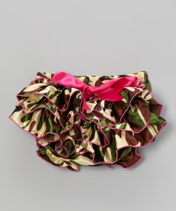 Green & Pink Camo Ruffle Satin Diaper Cover - Infant