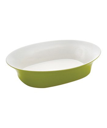 Green Oval Serving Bowl