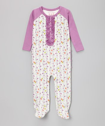 White & Purple Floral Footie - Infant