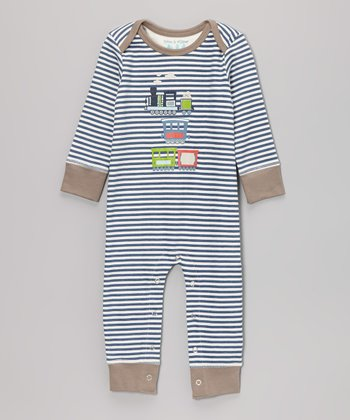 Faded Denim Stripe Train Playsuit - Infant