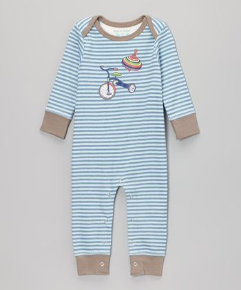 True Navy Stripe Spin Top Playsuit - Infant