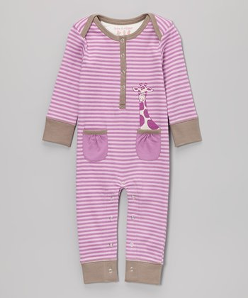 Lavender Stripe Giraffe Playsuit - Infant