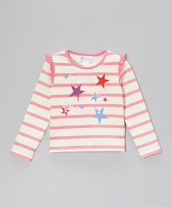 Bubble Gum Pink Stripe 'Dream' Ruffle Tee - Girls
