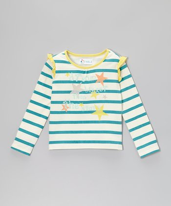 Lake Blue Stripe Butterfly Ruffle Tee - Girls