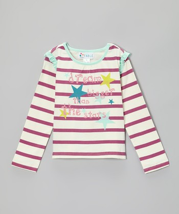 Boysenberry Stripe 'Dream' Ruffle Tee - Girls