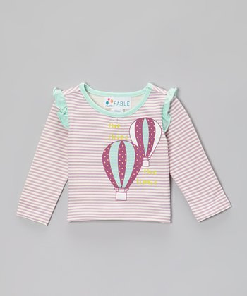 Lilac Stripe Balloon Ruffle Tee - Infant