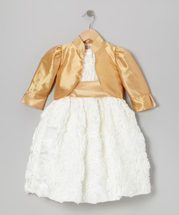 White Rosette Dress & Gold Bolero - Toddler & Girls