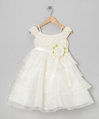 Off-White Flower Tier Dress - Toddler & Girls
