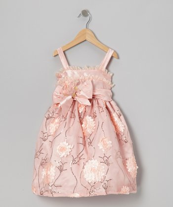 Coral Sequin Rosette Dress - Toddler & Girls
