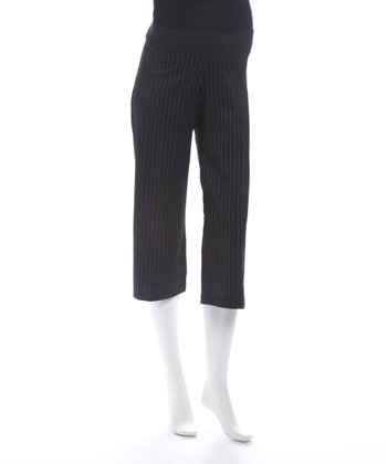 Black Pinstripe Maternity Capri Pants