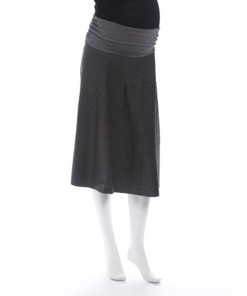 Light Gray Pinstripe Maternity Skirt