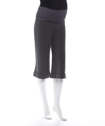Gray Maternity Capri Pants
