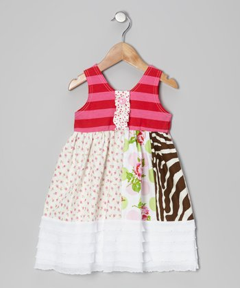 Pink & Red Rosie A-Line Dress - Toddler & Girls