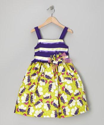 Purple Stripe Floral Dress - Toddler & Girls