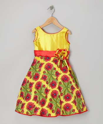 Yellow Floral Bow Dress - Toddler & Girls