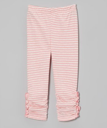 Quartz Pink Stripe Ruched Leggings - Toddler & Girls