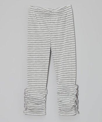 Heather Gray Stripe Ruched Leggings - Toddler & Girls