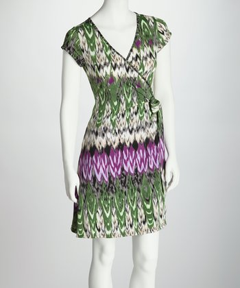 Green & Purple Abstract Wrap Dress