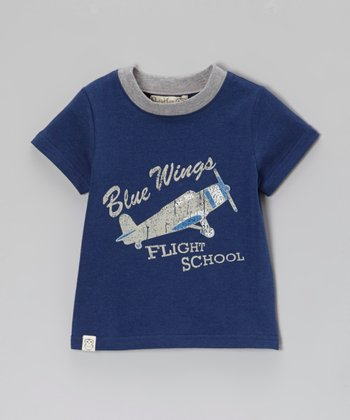 Owl & Hoot Navy 'Blue Wings' Ringer Tee - Toddler & Boys
