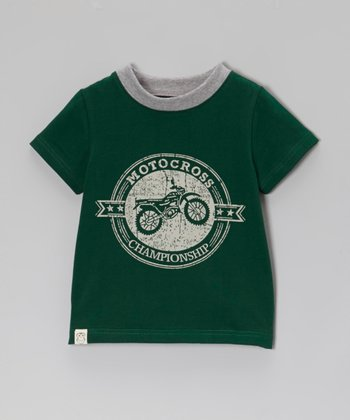 Owl & Hoot Forest Green 'Motocross' Ringer Tee - Toddler & Boys