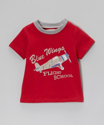 Owl & Hoot Red 'Blue Wings' Ringer Tee - Toddler & Boys