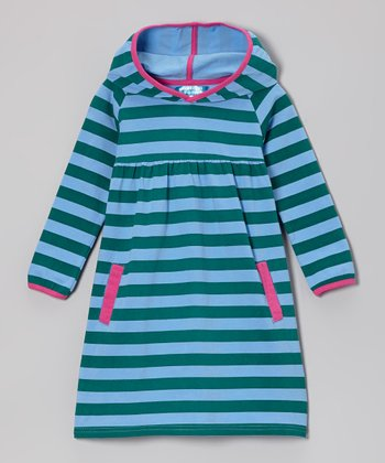 Blue & Deep Jungle Stripe Hooded Dress - Toddler & Girls