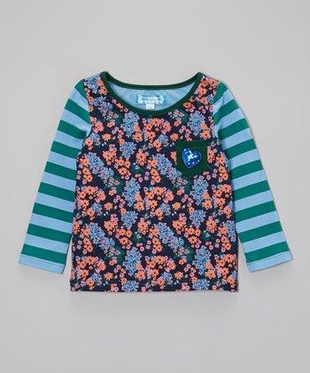 Blue Floral Pocket Top - Toddler & Girls