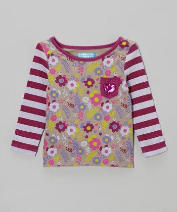 Boysenberry & Vintage Khaki Floral Pocket Top - Toddler & Girls
