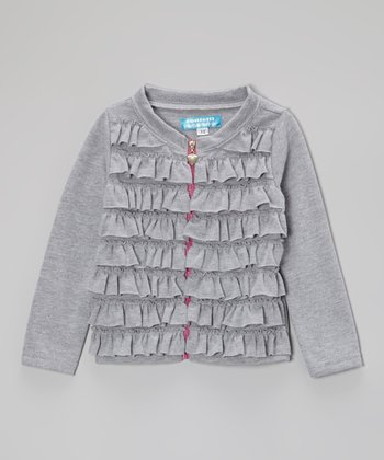 Light Heather Ruffle Zip-Up Cardigan - Toddler & Girls