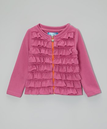 Raspberry Rose Ruffle Zip-Up Cardigan - Toddler & Girls
