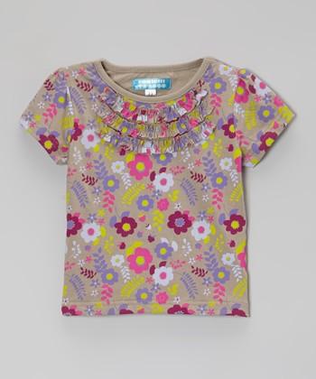 Vintage Khaki Floral Ruffle Tee - Toddler & Girls