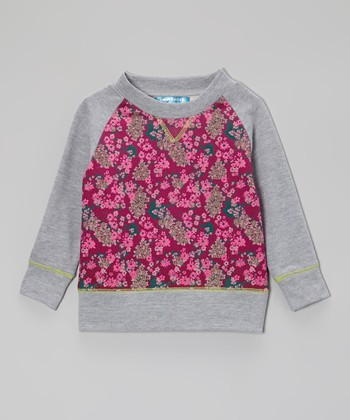 Boysenberry & Gray Floral Sweatshirt - Toddler & Girls