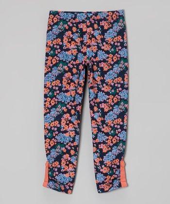 Navy Floral Leggings - Toddler & Girls
