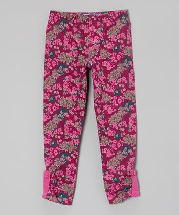 Boysenberry Floral Leggings - Toddler & Girls