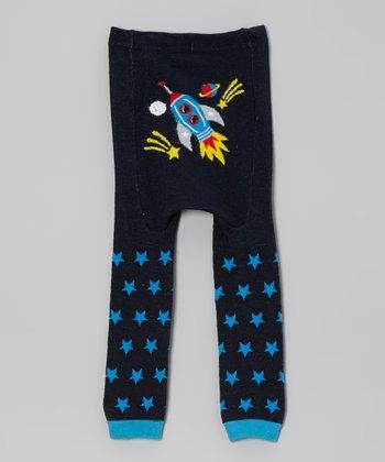 Doodle Pants Blue Star Spaceship Leggings
