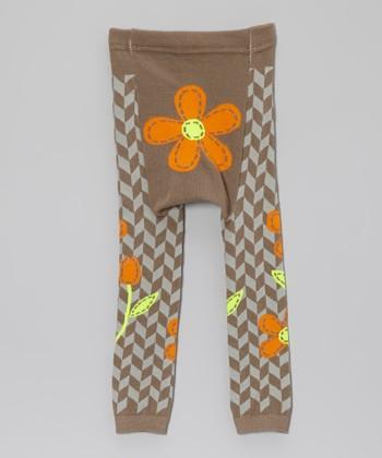Doodle Pants Brown & Orange Flower Leggings