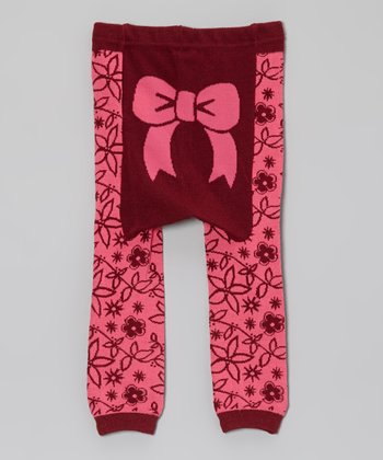 Doodle Pants Pink & Red Bow Leggings
