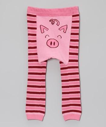 Doodle Pants Pink Stripe Pig Leggings