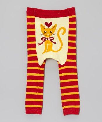 Doodle Pants Red & Yellow Stripe Cat Leggings