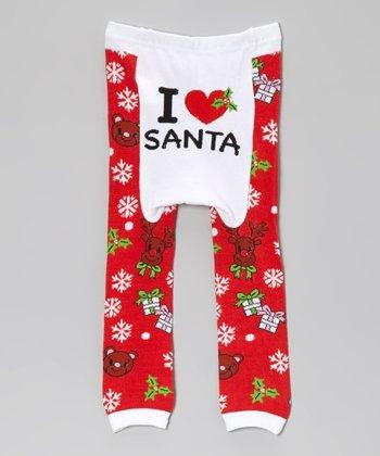 Doodle Pants Red 'I Love Santa' Leggings