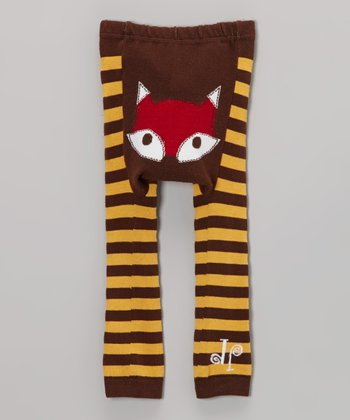 Brown & Yellow Fox Leggings - Infant