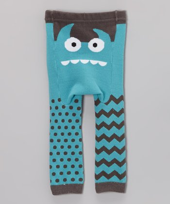 Teal Monster Face Leggings - Infant