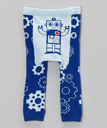 Doodle Pants Blue Robot Leggings