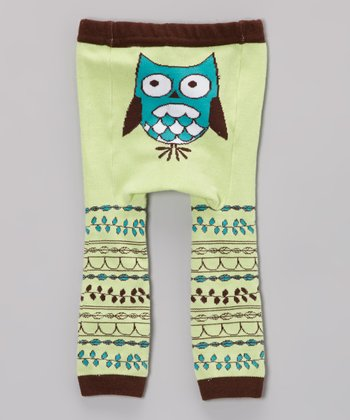 Pale Green Owl Leggings