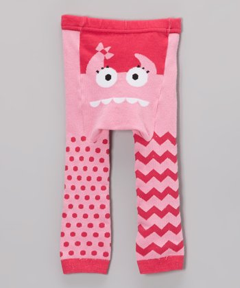 Pink Monster Face Leggings - Infant